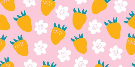 Kids hand drawn summer seamless pattern with strawberries, flowers on pink background. Summer background for kids clothing, textile. Vector illustration. Print for baby design. Scandinavian style
