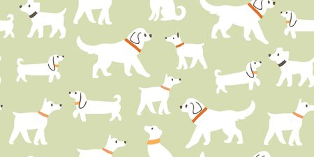 Vector seamless pattern with cute white dogs isolated on green: dachshund, jack russell, terrier, doberman, labrador. Animal pattern, dogs pattern, perfect for kids textile, nursery decor, fabric