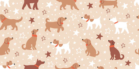Vector seamless pattern with  dogs isolated on beige with stars. Ilustrace
