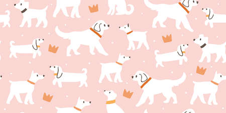 Vector seamless pattern with cute white dogs, crowns isolated on pink Ilustrace