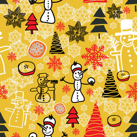 Mustard  christmas pattern with snowmen, snowflakes, apples, spice, christmas trees Ilustrace