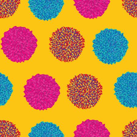 Boho pompom vintage seamless pattern