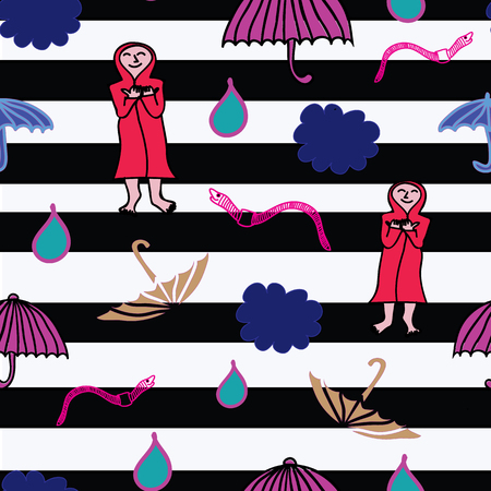 Modern rain elements pattern with clouds, umbrellas, earthworms on black and white stripes Ilustrace