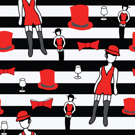 Cabaret revue sexy dancer and can can dancer with cabaret elements on black and white stripes Ilustrace