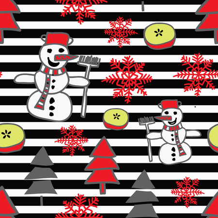 Repeating christmas pattern with snowmen, snowflakes, christmas tree and apple on black and white stripes