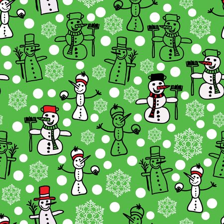 Vector green and white snowman and christmas seamless pattern, surface pattern design