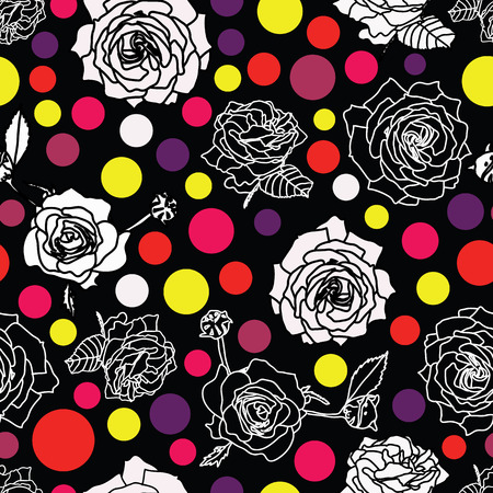 Beautiful seamless vector background with red roses. Surface pattern design.
