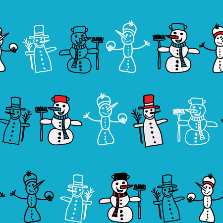 Vector seamless pattern with cartoon snowman perfect for Christmas. Surface pattern design.