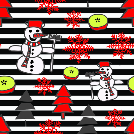 Trendy christmas pattern with snowman, snowflake and christmass trees on black and white stripes