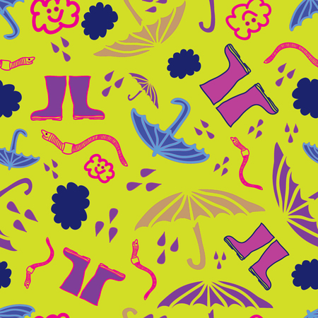 Vector modern rain pattern on yellow background containing umbrellas, rain drops, earthworm. Surface Pattern Design. Ilustração