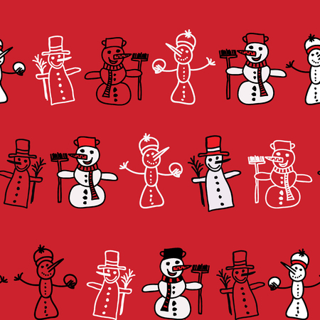 Vector cartoon set of cute white snowmen in different clothes with attributes of Christmas in hands on a white background. Color image. Christmas, New Year. Vector illustration. Pattern. Ilustração