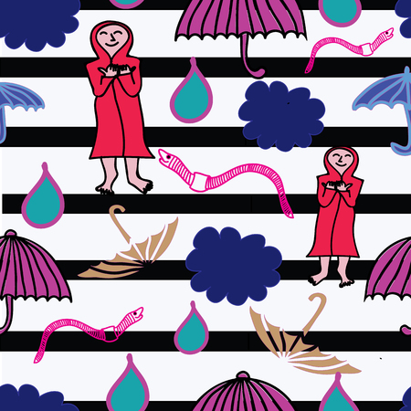 Cloud, rain earthworm and opened umbrella in the rain. Flat style vector illustration. Surface pattern design.