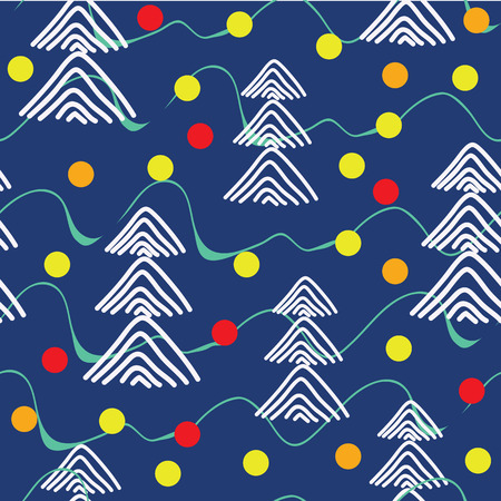Christmas trees in a wood and glass balls in winter nature. Vector illustration. Dark blue background seamless pattern. Ilustração