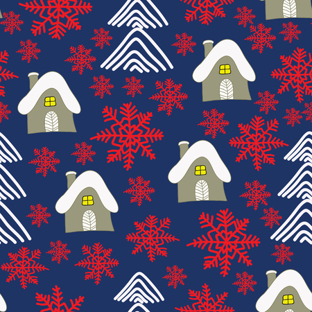 Winter landscape with cottage, red sowflakes and christmas trees. Christmas background. Surface Pattern Desin.