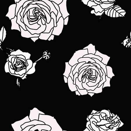 Rose flower set of blooming plant. Garden rose isolated icon of white blossom, petals. Surface Pattern Design.