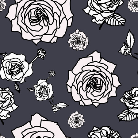 Rose flower set of blooming plant. Garden rose isolated icon of white blossom, petals on grey background. Surface Pattern Design.