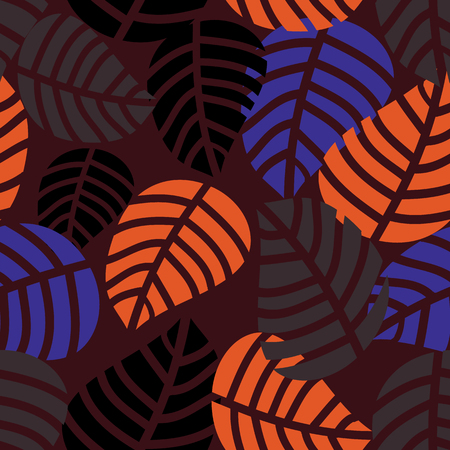 Autumn leaves hand drawn style, vector illustration. Surface pattern design. Ilustração