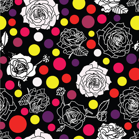 White or grey and inverse black roses blossom on black background with dots lentils in pastel colors. Pink, violet, yellow, red. Surface pattern design. Ilustração