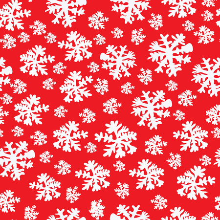 Abstract Beauty Christmas and New Year red Background with Snow and Snowflakes. Vector Illustration. EPS10 Ilustração