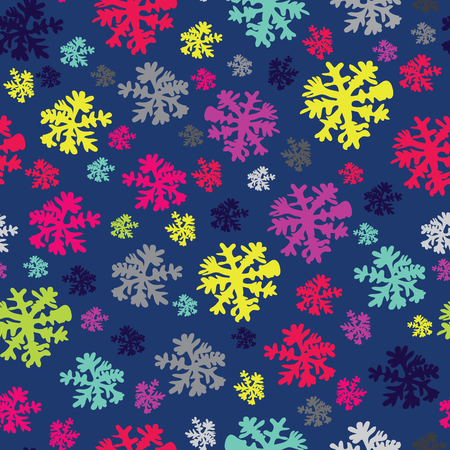 Abstract Beauty Christmas and New Year Background with Snow and Snowflakes. Vector Illustration. Pattern. Ilustração