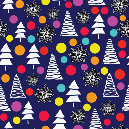 Vector Merry christmas tree background with pastel glass balls and anis. Seamless pattern.