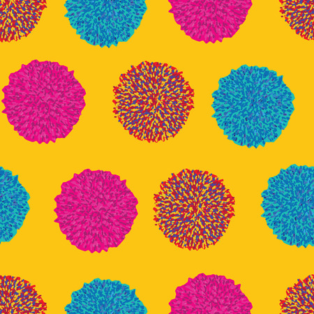 Vector geometric pom pom repeating pattern in retro vintage vibrant colors on yellow background perfect for fabric, textile, wallpapers, papers, craft Ilustração