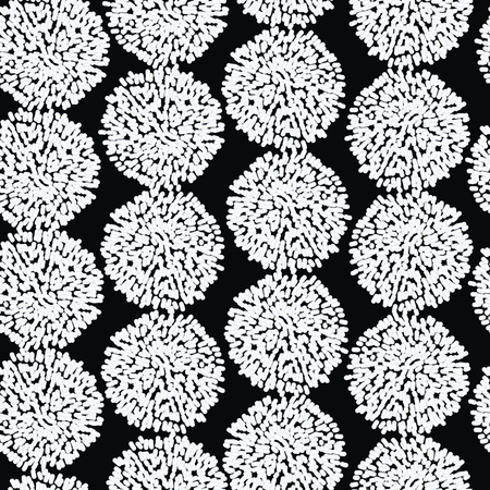 Vector Black and White Decorative Hanging Pompoms Seamless Repeat Pattern. Great for handmade cards, invitations, wallpaper, packaging. Surface Pattern Design. Illustration