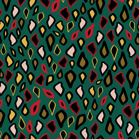 Pattern leopard trendy print pink gold sand color exotic illustration. Ornament or drops with silhouette. Green background.