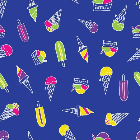 Seamless pattern with different types of ice cream. Doodle texture with sweet desserts. Perfect for fabric for boys.