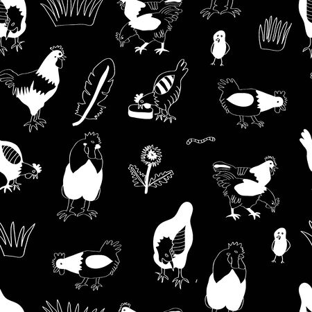 Vector chicken, hen und cock white silhouettes on black background. Poultry business background.