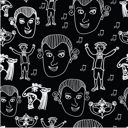 Vector Wolfgang Amadeus Mozart repeating seamless pattern black background with Mozart, notes and baroque carnival mask.
