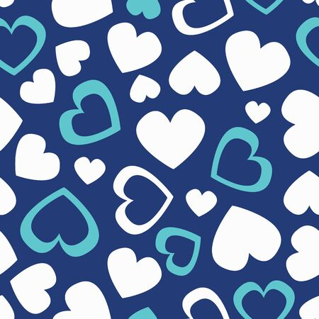 Vector cute vintage color seamless pattern with white and blue hearts, full and silhouettes. Heart seamless patter wallpaper.