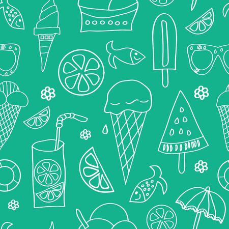 Vector summer icons, white silhouettteson green background. Ice cream, limonade, lemon slice, fish, sun umbrella, blossom. Ilustração