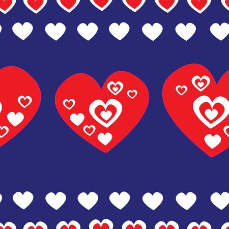 Vector seamless folk art vector pattern, white and red hearts on blue backgrounfd. Retro style decoration.