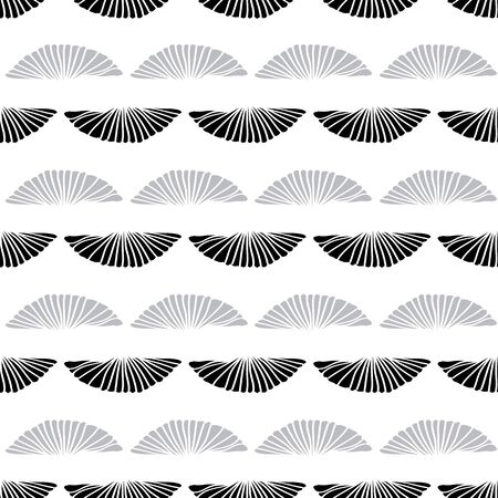 Vector seamless pattern sea shells outlines black and grey on white background. Two rows. Ilustração
