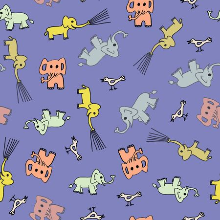Vector cute seamless pattern, yellow, mint and coral elephants onlila or blue background. Perfect for babies, hand drawn illustration.