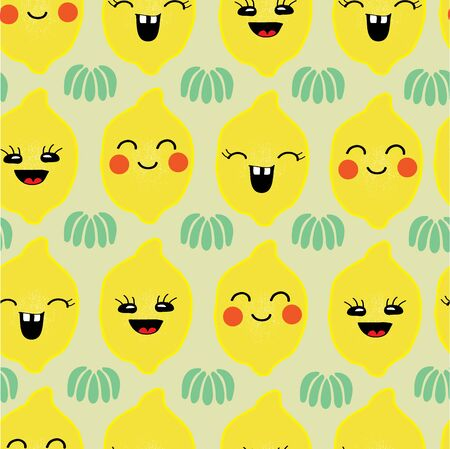 Vector hand drawn seamless  pattern. Happy lemons with emotions, green leaves. Perfect for fabric, cute, japan style. Ilustração