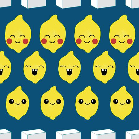 Seamless pattern, happy lemon with happy faces in rows, white sugar cubes. Perfect for fabric, paper, kids, babies. Banco de Imagens