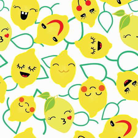 Vector lemon with cute black eyes seamless pattern fruit with emotional faces and green leaves outlines seamless pattern