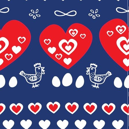 Vector seamless pattern, folk vintage pattern with hen, rooster, eggs and hearts. Perfect for Easter, fabric, greeting card.