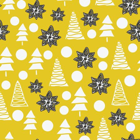 Vector seamless pattern, different white christmas trees, snow balls and black anis on mustard background. Unusual Christmass pattern. Perfect for print.