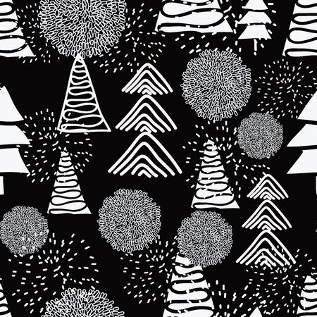 Vector seamless pattern, white christmas trees and snow balls and pompoms on black background. Ilustração