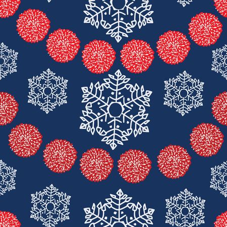 Vector repeating pattern, red and white pom pom girlande and snowflakes. BLue background. Ilustrace