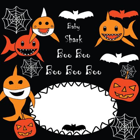 Baby Shark Doo Doo Doo - Boo Boo Boo Halloween Invitation Card with space for a text in sharkd jaws. Sharks, pumpkin, spider web and bats.