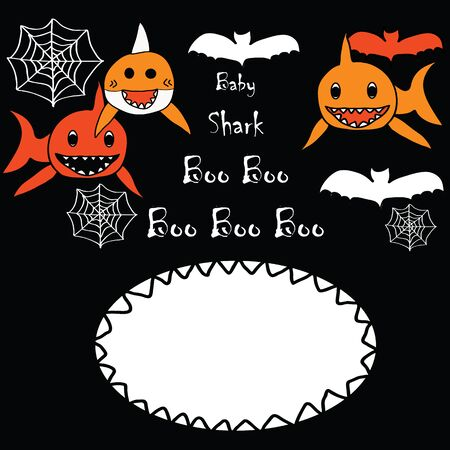 Baby shark Boo Boo Boo Halloween Invitation Card for kids, merry and scary, red, orange, black and white.