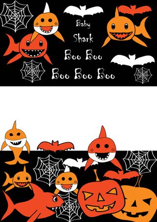 Baby Shark Doo Doo Doo - Boo Boo Boo Halloween Invitation Card with space for a text. Sharks, pumpkin, spider web and bats.