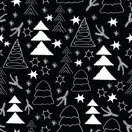 White christmass trees and snow flakes and stars, outline, too, on black background, seamless pattern.