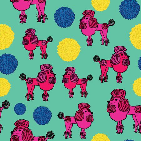 Adorable illustration of cute Pink Poodle and bobbles, seamless vector pattern