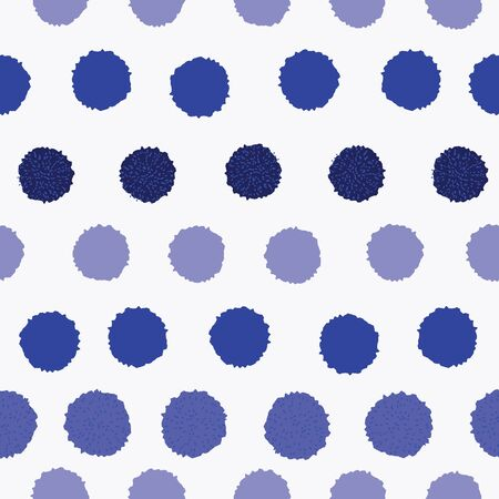 Vector seamless pattern, pom pom, bobble, dots in different blue shades in a rows. Repeating pattern. 向量圖像
