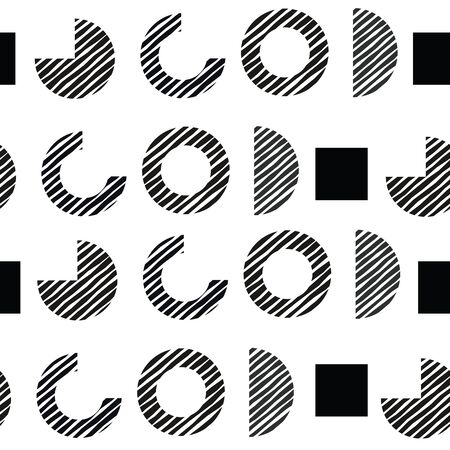 Vector geometry seamless pattern looking like O GOD letters. Shades of grey on white.